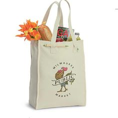 """Use the Recycled Cotton Market Bag time and time again for your marketing needs! Our 8 oz. recycled cotton market bag is made from 85% recycled cotton fabric and includes an educational product hangtag. The full size grocery bag with sturdy 22"""" shoulder straps has plenty of space for you to add on a message, logo, or slogan through the imprint options. A great addition for your upcoming fundraiser."""
