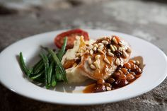 Grilled Chicken, Champagne Sauce, Pine Nuts, Fruit Chutney, Potato Puree, Sauteed Green Beans | Flickr - Photo Sharing!