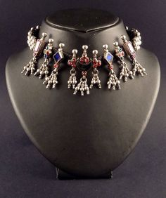 Rajasthan silver and glass old choker - old indian jewelry