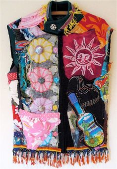 WETSUIT COUTURE Altered Collage Clothing Beach Surfer Girl Tropical Islands  Cottage Vintage Fiber Textile MyBonny random scraps of fabric