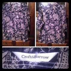 "Croft & Barrow Button Up Ladies Blouse This is a lovely little ""Croft & Barrow"" brand ladies blouse. Size large, cotton blend, button-up front blouse. The blouse is blue with tan florals. The bust is 27 inches and the length is 28 inches. Croft & Barrow Tops Blouses"