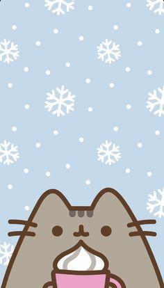 pusheen winter wallpaper !!