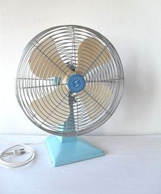 Shabby Chic Desk Fan Robins Egg Blue by FlyingAce on Etsy, $35.00