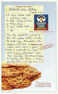 Our Mama's Oatmeal Lace Cookie Recipe.thinking amish style cookies! Retro Recipes, Old Recipes, Vintage Recipes, Sweet Recipes, Baking Recipes, Recipies, Cookie Brownie Bars, Cookie Desserts, Cookie Recipes
