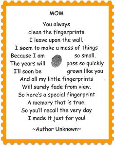 Fingerprint Poem for Mother's Day