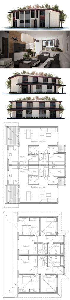 Duplex house a house divided into two apartments with a for Plan maison duplex