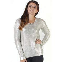 Silver Studded Shoulder Detail Foil Jumper
