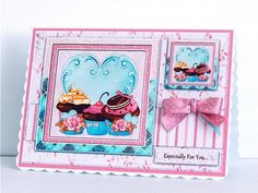 Cupcakes quick Card on Craftsuprint designed by Marijke Kok - made by Denise Murray - Printed onto matte photo paper and mounted onto an A5 scalloped card blank with a mat of co-ordinating card.I used 3d foam pads to add the layers and embellished with a pink spotty bow and white pearls.A really pretty design that is really quick and simple to make. - Now available for download!