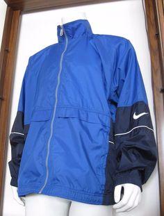 99e3e90fb408 L Mens NIKE Full Zip Windbreaker Jacket Blue Black Nylon Polyester large  EuC  Nike