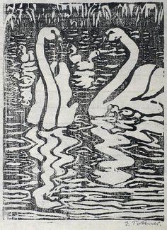 Emil Pottner. Zwei Schwäne mit Küken Holzschnitt UM 1910