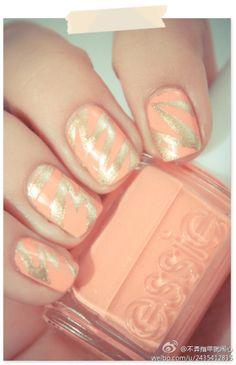 salmon pink + gold #nail #polish