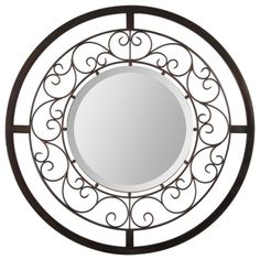 A classic look with a lot of style, the Ellio Mirror features a warm bronze finish, beautiful feminine scroll border with a round beveled mirror center.