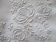Antique Vintage Whitework Tablecloth Embroidered Roses