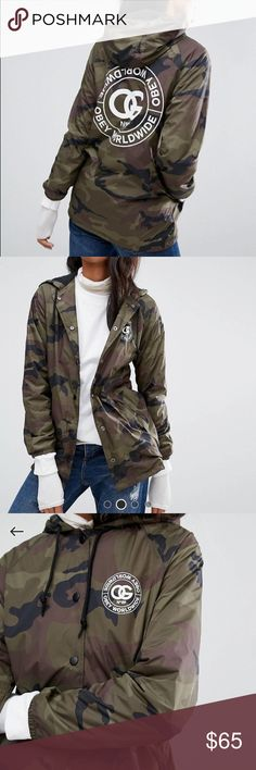 Obey Camo Jacket Obey Camo Windbreaker oversized hoodie jacket. Brand new NWOT never worn. Perfect condition size xs. Sold out everywhere. Obey Jackets & Coats