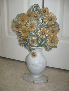 Antique vintage HUBLEY Black Eyed Susan FLOWERS door stop