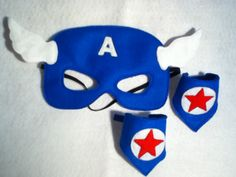 Captain America felt mask and cuffs by CapesNCrowns on Etsy :: Party Favors? Captain America Mask, Captain America Party, Oh Captain My Captain, Captain America Costume, Halloween Trick Or Treat, Halloween Fun, Halloween Costumes, Little Man Birthday, Felt Mask