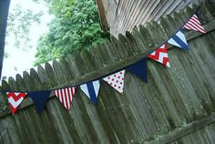July 4th Red White Navy Blue Patriotic Banner  by BlueMoonStudios, $30.00