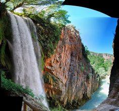 Stunning Horsetail Falls in Monterrey, Mexico.