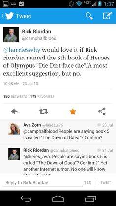 Percy Jackson book suggestion- die dirt-face die or the Dawn of Gaea Percy Jackson Memes, Percy Jackson Books, Percy Jackson Fandom, Leo Valdez, Solangelo, Percabeth, Oncle Rick, Team Leo, Wise Girl