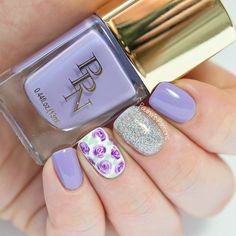 Purple nails for Facial Palsy Awareness ~ base polish Pink Princess Nails 'She Gets What She Wants' with Colores de Carol 'Bling' on the accent nail and roses with 3 different purple polishes over a white base ~ by Paulina's Passions
