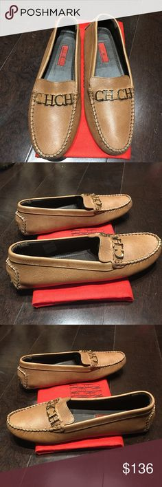 Carolina Herrera Classic Loafers, Size 39 Carolina Herrera Classic Loafers, Size 39. Color is a dark beige/light camel leather. Front has the Classic 'CHCH' logo in yellow gold hardware. Comes with dust bag. Brand new, never worn. Made in Italy. Retails $570! Carolina Herrera Shoes Flats & Loafers