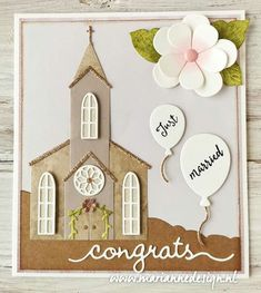 Marianne Design Cards, Just Married, Diy Cards, Craft Projects, Holiday Decor, Paper, Frame, Crafts, Inspiration