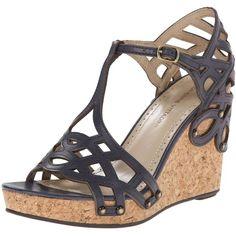 Adrienne Vittadini Footwear Women's Cherris Wedge Sandal (1.685 RUB) ❤ liked on Polyvore featuring shoes, sandals, t strap shoes, cork wedge heel sandals, tall sandals, wedge heel sandals and studded wedge sandals