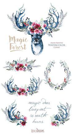 Watercolor Magic Deer Antlers Stag horns Wild Boho от ReachDreams