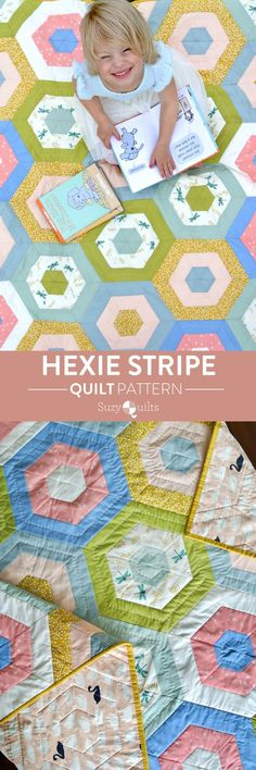 Hexie Stripe is a modern quilt pattern from Suzyquilts.com. All you need is 1/2 yd. cuts of 9 different fabrics, so grab your favorites and show them off in this fun mix and match pattern. #hexiequilt #throwquilt #modernquiltpattern