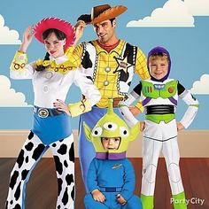 up everyone in the family and dress up as your kids favorite characters from toy story this is one of our favorite family costume ideas