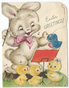 Vintage Easter Card Rust Craft Bunny Chicks Bluebird Die Cut Mid Century 1948
