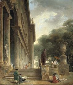 1759. Palais Medici by Hubert Robert. The men shown drawing in this painting are likely English gentlemen on their Grand Tour or French artists studying in Italy. Both England & France looked to Italy, with its ancient Roman monuments, for justification & pride in their European heritage at a time when colonial exploitation was increasingly heinous & industrial advances brought traditional values into question.