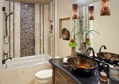 Woodlands Whole Home Remodel - traditional - Bathroom - Houston - Sneller Custom Homes and Remodeling, LLC Bathroom Kids, Traditional Bathroom, Vessel Sink, Earth Tones, Custom Homes, Home Remodeling, Custom Bathrooms, Luxury, Sinks