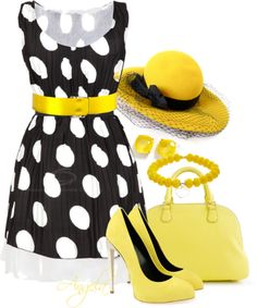 """Sunny Polka Dot"" by angela-l-s on Polyvore"