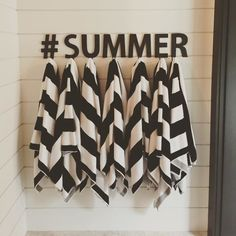 For our new POOL! Summer, we're ready for you. (And so is this gorgeous outdoor space — genius way to use our Alphabet Hooks. Pool Bar, My Pool, Towel Rack Pool, Pool Towels, Living Pool, Outdoor Living, Pool Organization, Pool House Decor, Pool House Bathroom
