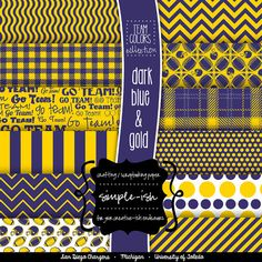 FOOTBALL Scrapbook Paper Navy & Yellow Digital Gold by Simpleish, $3.95