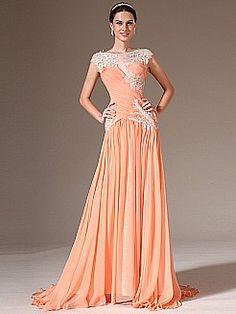 Cap Sleeved Bateau Neckline Appliqued Chiffon A Line Prom Dress - USD $145.98