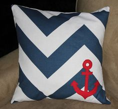 """Anchor Pillow Cover, Chevron, Navy, White, Red, Nautical, Sailor, fits 16"""" pillow form on Etsy, $34.00"""