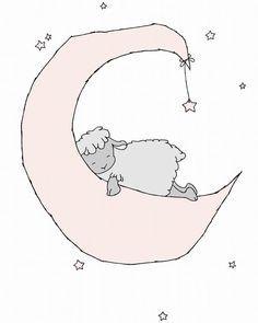 Elephant Nursery Art -- Baby Elephant Moon and Stars Dream -- Pink ...