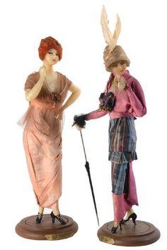 Poupées en cire Lafitte-Désirat datées 1914 et marquées sous le socle au tampon A la Pensée. Pour la Duchesse de Broglie