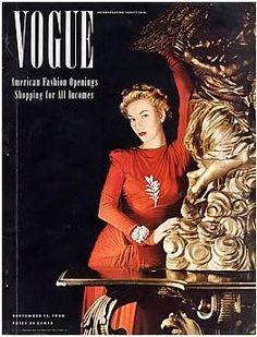Vogue, September 15, 1940 cover   Model wearing Hattie Carneige photographed by Horst P. Horst