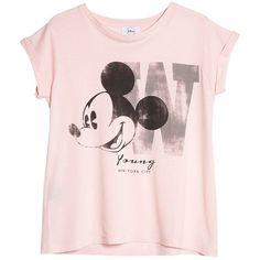Mango Disney T-shirt, Medium Pink (€6,77) ❤ liked on Polyvore featuring tops, t-shirts, shirts, disney, pink short sleeve shirt, sleeve t shirt, print shirts, roll sleeve shirt and pattern t shirt