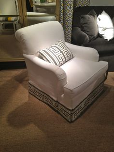 High Point Market Spring 2012-Tobi Fairley Greek Key Fabric looking great as this banding on this Hickory Chair lounge chair!