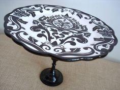 VintageInspired Dessert PedestalDarling Damask by BurlapAndBlue