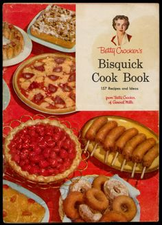 Betty Crocker's Bisquick Cook Book, 1956 - Cheese Souffle, Strawberry Glace Short Pie, Asparagus Shortcake, Ring Topped Chicken Shortcakes, Date Velvet Crumb Cake  http://www.amazon.com/gp/product/B000K0PJ4C/ref=cm_sw_r_tw_myi?m=A3FJDCC1SFO8CE