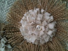 Shabby Chic Burlap Flower Set of 3 - Shabby Chic - Rustic - Country - Vintage - Wedding - Home Decor - Lampshade Flowers