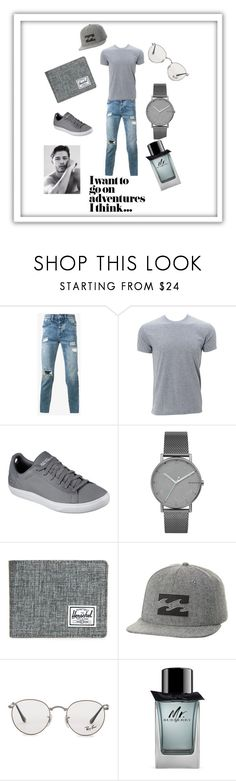 """summer vibe"" by n-ejra ❤ liked on Polyvore featuring Ksubi, Simplex Apparel, Skechers, Skagen, Herschel Supply Co., Billabong, Ray-Ban, Burberry, men's fashion and menswear"