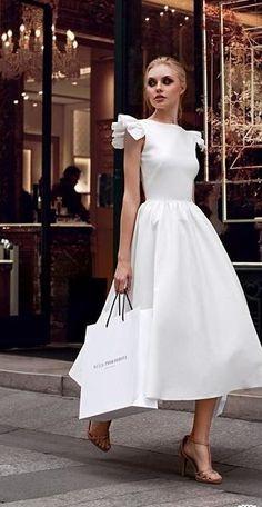 classy white dress.