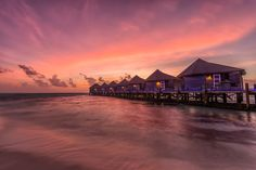 Water Villa Sunset Time - Yet another beautiful sunset at Kuredu Island Resort in the Maldives. Kuredu Island, Water Villa, Island Resort, Sunset Photography, Beautiful Sunset, Maldives, Opera House, Sunrise, Building