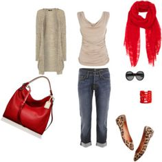 love it, like the punch of red in scarf and bag and animal print shoes